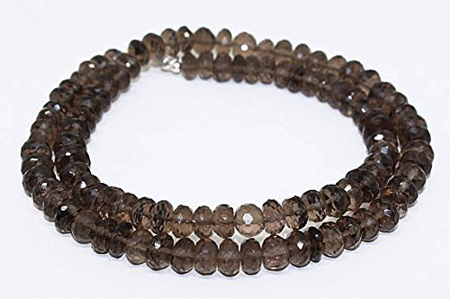 Smokey Quartz Gemstone Beads Necklace/100% Natural Gemstone Size 6.5x7.5 mm Approx/Faceted roundell Beads Necklace 190 ()