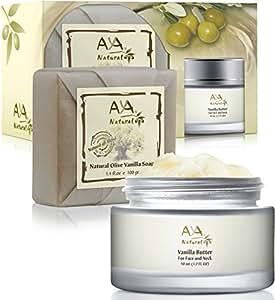 Vanilla Facial Butter Dry Skin Kit - 100% Natural Neck and Face Moisturizer 1.7 oz & Soap 3.4 oz - Shea, Cocoa, Olive, Coconut, Jojoba & Almond Oils Blend Care Set