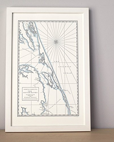- Outer Banks, Letterpress Map Unframed Print