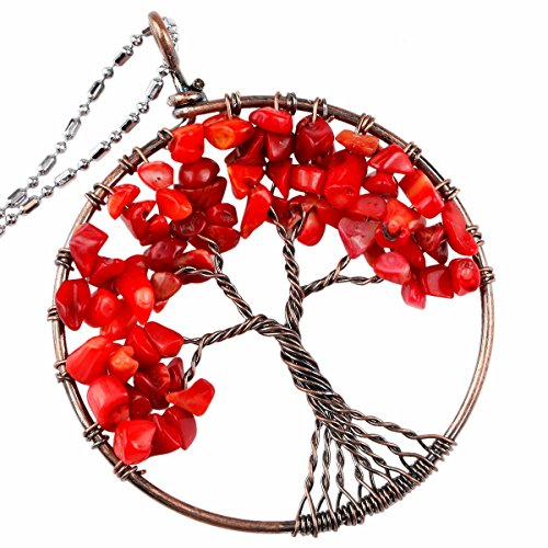 TUMBEELLUWA Tree of Life Pendant Healing Crystal Necklace Gemstone Chakra Copper Plated Handmade Jewelry for Women Men, Red Coral