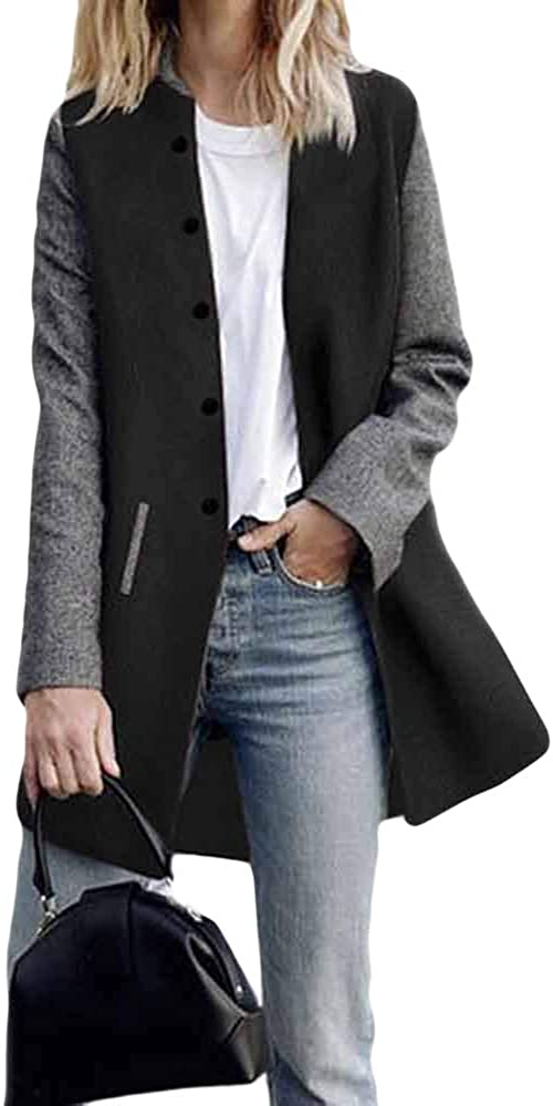 WUAI-Women Long Sleeve Open Front Cardigan Jackets Lightweight Color Block Button Blazer Suit Jackets Coats: Clothing