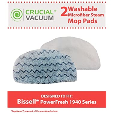 Crucial Vacuum 2 Bissell PowerFresh Steam Mop Pads Fits All PowerFresh 1940 Series Models including 19402, 19404, 19408, 1940A, 1940Q, 1940T, Part # 5938 and 203-2633