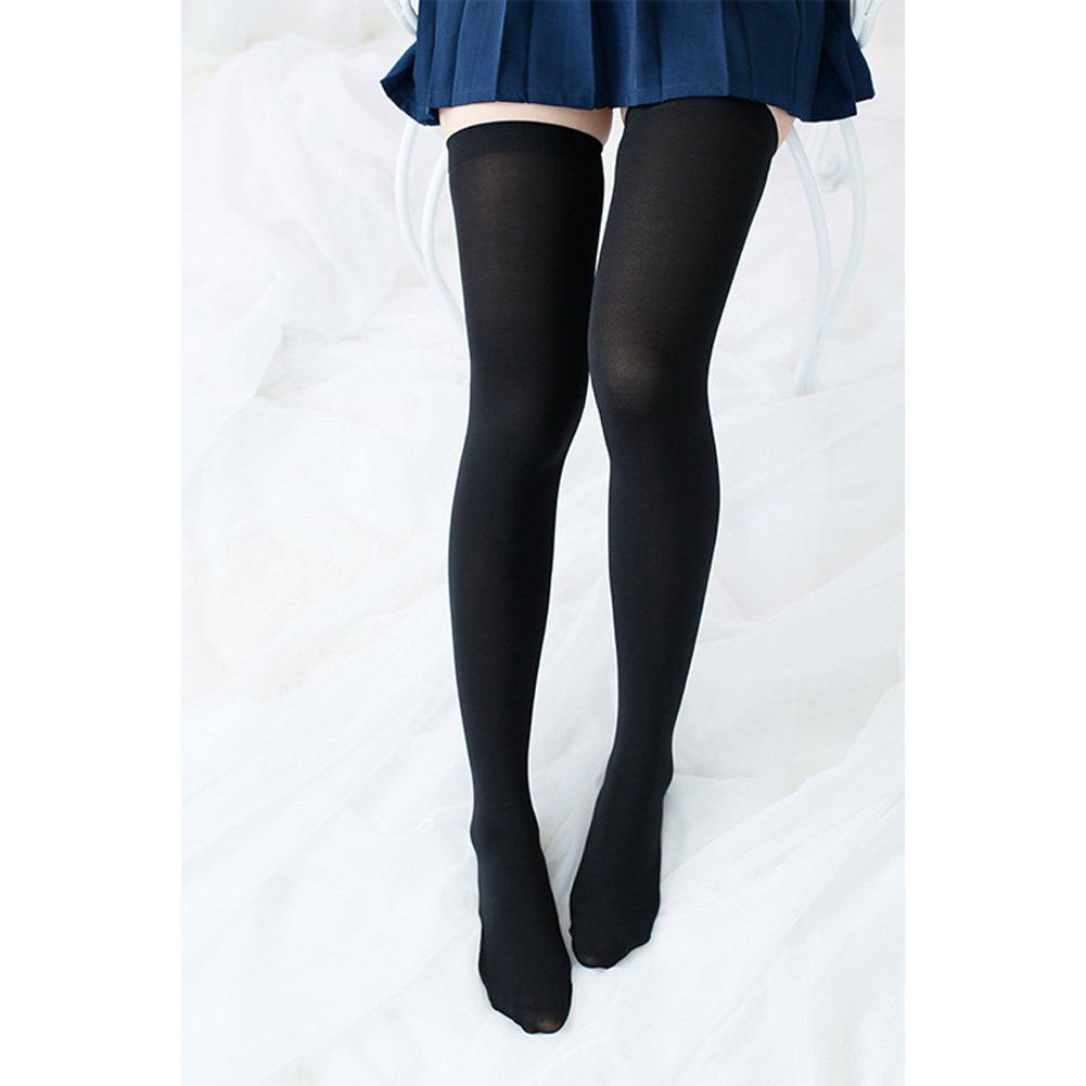 Women's Thigh High Stockings Socks of Solid Color Opaque Sexy,Over the Knee High Leg Socks 5-Pairs(Black) by VANGAY (Image #8)