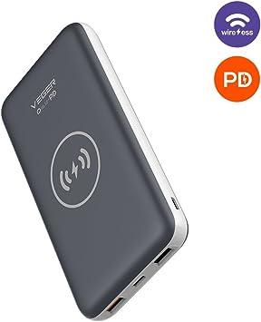 Batería portátil Power Bank, banco de energía inalámbrica qi, Wireless cargador inalámbrico para Samsung Galaxy S6/S7/S8/Note 8, iPhone 8/8 Plus/iPhone X W/doble salida de carga rápida Tipo-C de entrada: Amazon.es: Electrónica