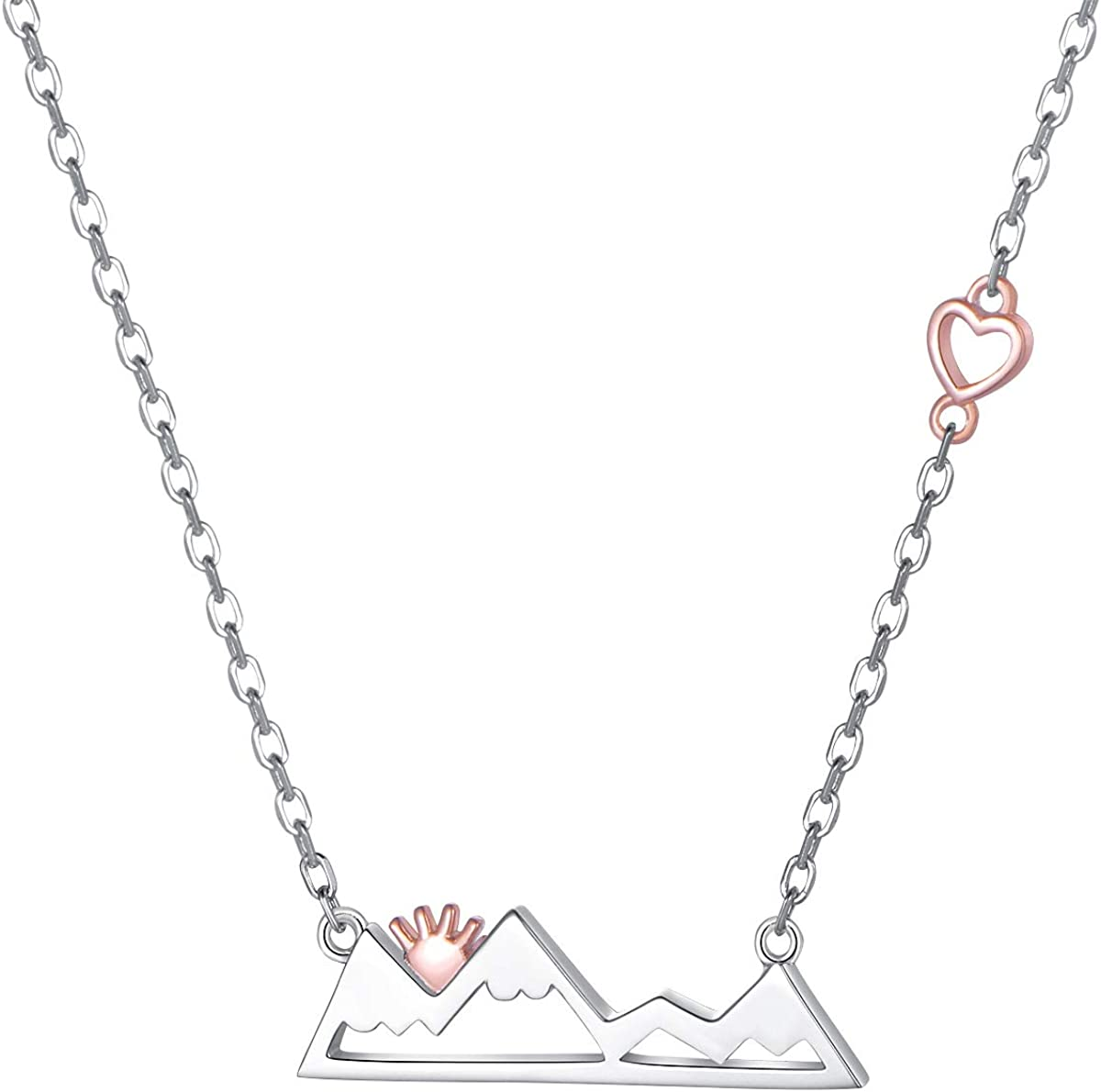 925 Sterling Silver Heart Snow Caps Mountain Range Necklace/Ring/Bracelet Gift for Women Teen Girls Hikers Outdoor Lovers