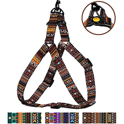 - CollarDirect Tribal Dog Harness Adjustable Nylon Step in Aztec Print Pet Harnesses for Small Medium Large Puppy Vest Outdoor Walking (Pattern 3, Small)