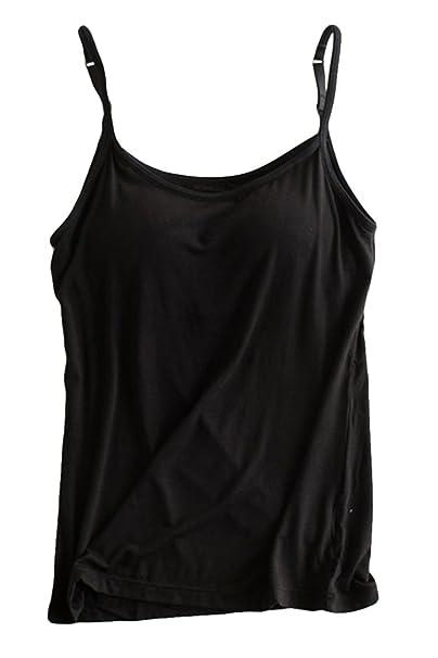 32bbaaa1661a4 KAKALOT Girls Summer Basic Spaghetti Strap Camisole Tank Tops Black S