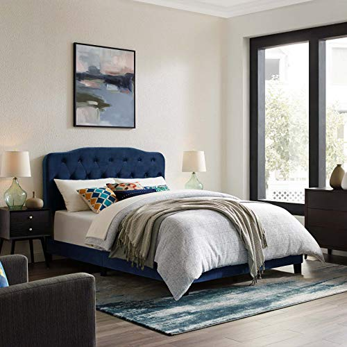 Modway Amelia Tufted Performance Velvet Upholstered King Bed in Navy (Navy Headboard Velvet)