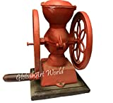 Global Art World Vintage Red Iron Foundry 1920 Antique Stowmarket Suffolk Iron Cast Adjustable Coffee Grinder HB 0214