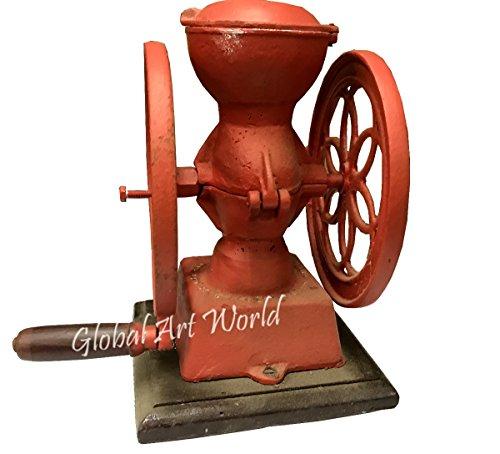- Global Art World Vintage Red Iron Foundry 1920 Antique Stowmarket Suffolk Iron Cast Adjustable Coffee Grinder HB 0214