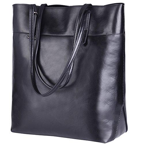 - SAMKITY Women's Genuine Leather Handbag Tote Shoulder Bag Black V
