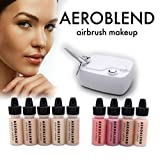 make up kit for starters - Aeroblend Airbrush Makeup Personal Starter Kit - Professional Cosmetic Airbrush Makeup System - TAN Foundation - Color Match Guarantee - Full 1-Year Warranty