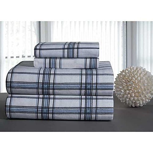3 Piece Blue Black White Plaid Sheets Twin Set, Beautiful Classic Checkered Print Bedding Bold Check Reversible Design, Casual Country Lodge Style, Bright Colors, Soft Cozy Cotton Heavyweight Flannel
