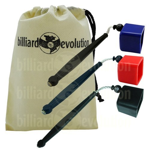 Set of 3 (Red, Blue, Black) Pocket Chalk Holders with Billiard Evolution Drawstring Bag