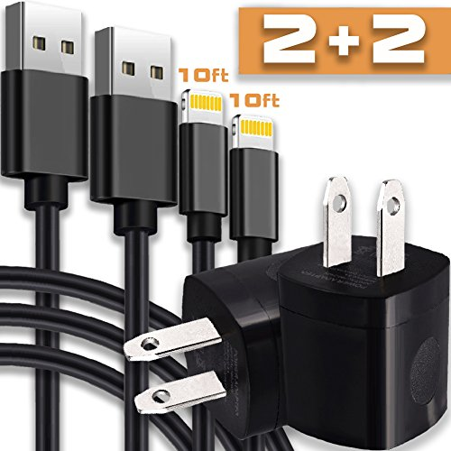 Holiber Extra Long Phone Charger Cord - Pack of Two 10FT Charging Data Sync Cables with 2 AC Wall USB Brick Travel Power Adapter Outlet Plug Phone X 8 7 6 5 SE Plus - Black
