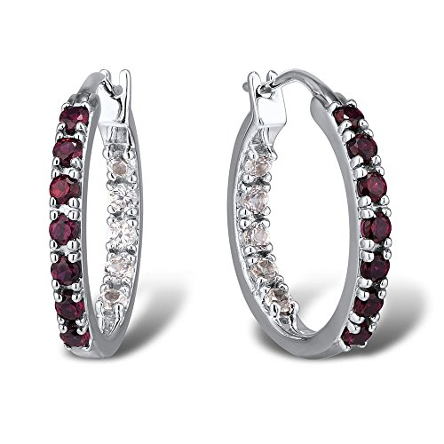Lab Created Ruby and White Sapphire Hoop Earrings Rhodium Plated Sterling Silver