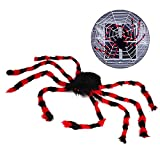 OWUDE 50 Inch Giant Spider, Halloween Hairy Spider Scary Fake Large Spider for Outdoor Decor Yard Decorations Scary Plush Spider Props (50 Inch Black-red Spider)