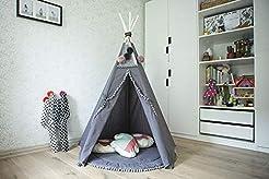 Grey teepee tent for kids, handmade tipi...