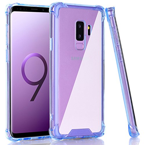 BAISRKE Clear Case for Galaxy S9 Plus, Shock Absorption Flexible TPU Soft Edge Bumper Anti-Scratch Rigid Slim Protective Cases Hard Plastic Back Cover for Samsung Galaxy S9+ Plus - Blue