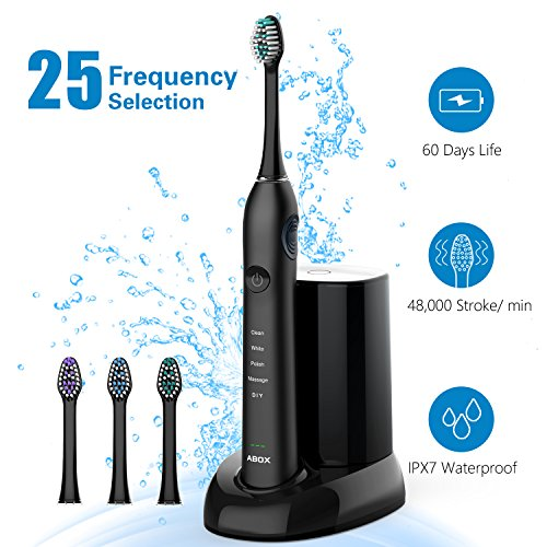 Electric Travel Toothbrush – Sonic Electronic Toothbrush for Adult for Kids, 5 Brushing Modes with DIY Mode Rechargeable by ABOX up to 60 Days, IPX7 Waterproof, UV Sanitation, Travel Case Included