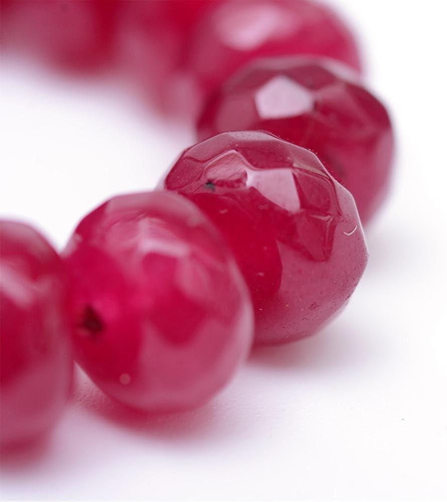 Perlin G256 - Piedras preciosas de ágata (8 mm, redondas, 15 unidades), color rojo