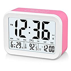 FAMICOZY Talking Alarm Clock with Smart Light and Snooze,7 Sounds to Choose,3 Alarms for 5/6/7 Days,Week Date Temperature,12/24hr Battery Operated Clock,Hot Pink