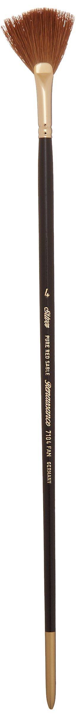 Silver Brush 7104-4 Renaissance Pure Red Sable Long Handle Premium Quality Brush, Fan Blender, Size 4