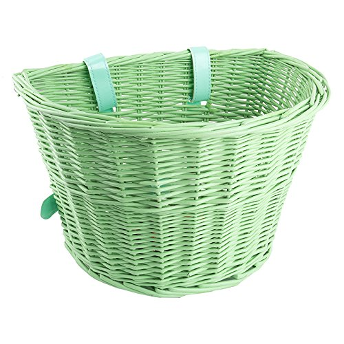 "Sunlite Willow Classic Basket w/ Straps, 14 x 10 x 8.5"", Green"