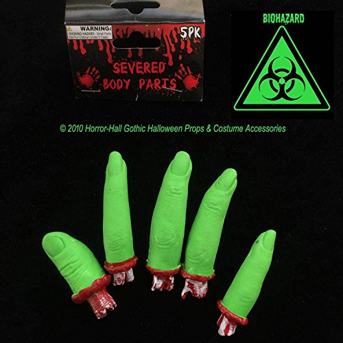Toxic Biohazard-GREEN SEVERED FINGERS-Body Parts-Mad Scientist Lab ZOMBIE Prop-5]()