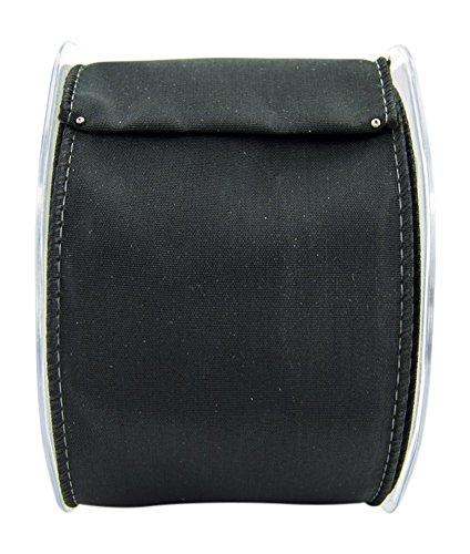 Ribbon Bazaar Wired Iridescent Taffeta 6 inch Black (Same Color Edge) 10 yards 100% Acetate Ribbon