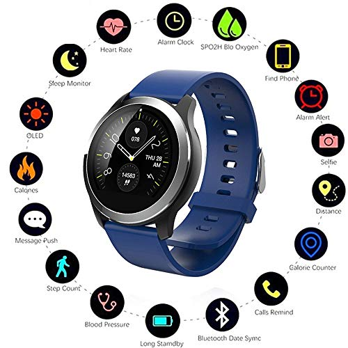 (HUWAI-F Sport Modes Fitness Watch, Counter Pedometer Stop Watch, Monitor Step Calorie Distance Tracker, Bluetooth Smartwatch, Waterproof IP68 Activity Tracker, Heart Rate Monitor)