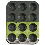 CasaWare Mini Muffin Pan 12 Cup Ceramic Coated Non-Stick (Silver Granite)