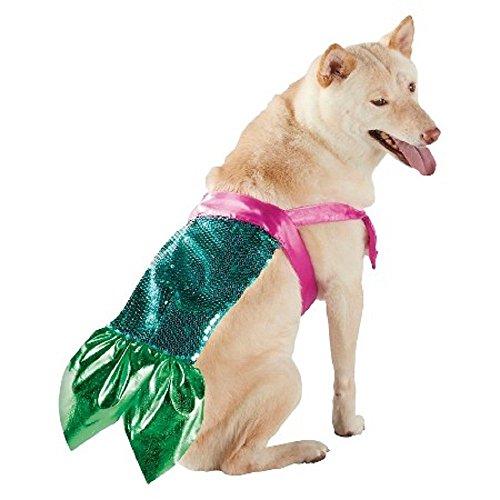 [MERMAID GREEN & PINK PET COSTUME WITH SEQUINS L/XL] (Mermaid Dog Halloween Costume)