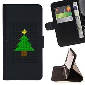 For Motorola Moto E ( 1st Generation ) Case , Árbol de Navidad Polígono Negro metal- la tarjeta de Crédito Slots PU Funda de cuero Monedero caso cubierta de piel