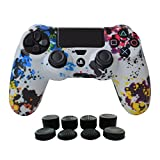 PS4 Controller Cover Silicone Gel Protector Skin Soft case Kits for Sony Playstation 4 PS4/PS4 Slim/PS4 Pro Controller Video Games(1x Controller cover with 8 x FPS Pro Thumb Grip Caps)(White Paint)