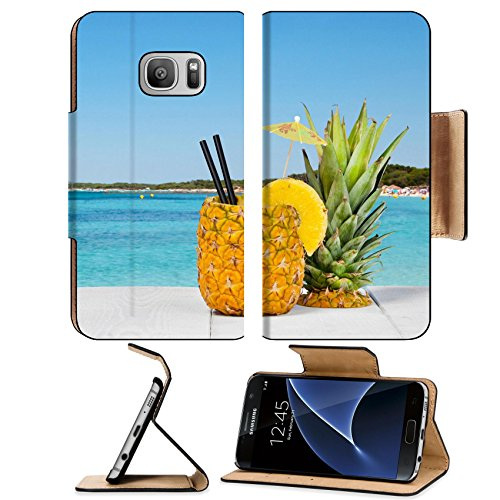 Luxlady Premium Samsung Galaxy S7 Flip Pu Leather Wallet Case Image Id  41066810 Pineapple Juice Served In The Peel On White Wood Table
