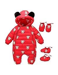 Infant Newborn Baby Boy Girl Hoodie Down Jacket Romper Pram Onesie Snuggly Snow Suit 0-24 Months Jumpsuits Outwear Bodysuits