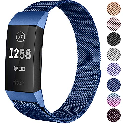 (CAVN Compatible Fitbit Charge 3 / Charge 3 SE Bands Women Men Small Large, Metal Milanese Loop Stainless Steel Replacement Accessory Straps Bracelet Compatible Fitbit Charge 3 Fitness Tracker)