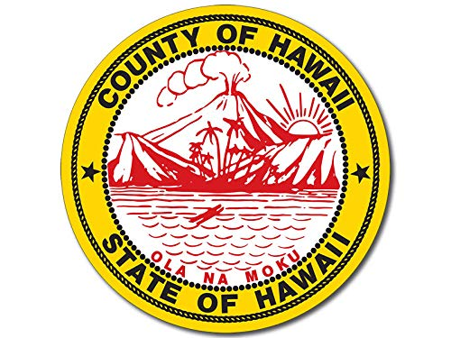 - American Vinyl Round County of Hawaii State of Hawaii Seal Sticker (hi Island Pacific Logo)