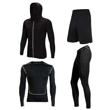 Dooxii Homme 4 Pièces Vêtements de Sport avec Hoodies Vestes Shirt Compression Collant Running Short Séchage Rapide pour Workout Ensemble de