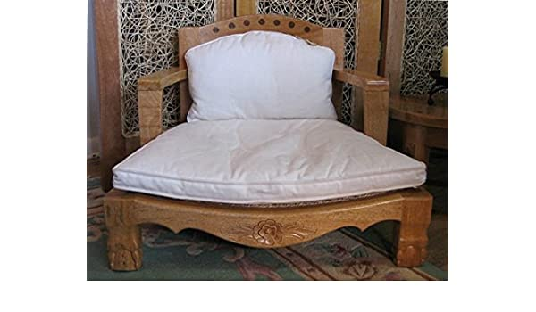 Amazon.com: Raja Royal Meditation Chair In Natural Finish With White  Cushions: Kitchen U0026 Dining