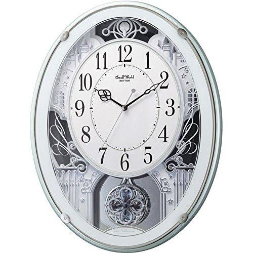 リズム時計工業 SmallWorld 電波壁掛け時計(アミュージングタイプ)4MN523RH05 スモールワールドプラウド 緑メタリック(白) アナログ B00OW44XZ8