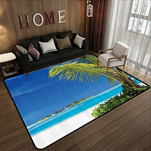 - All Weather mats,Ocean Seascape,Caribbean Polynesia and Tropics Small Palm Trees Photo Print,Turquoise and Ecru 71