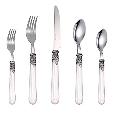 Stainless Steel Silverware Set - 60-Piece Royal Flatware Set with White Pearl Handle, Vintage Cutlery Set Including 12 Steak Knives, 24 Forks, 24 Spoons, Mirror Polished, Service For 12 (60pieces)
