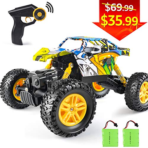 RC Car DOUBLE E 1/18 Remote Control Car 4WD Monster Truck 2.4Ghz with Two Rechargeable Batteries Dual Motors Unique Graffiti Off Road Rock Crawler (Questions To Ask A 8 Year Old)