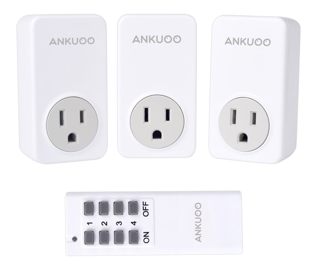 Ankuoo Rec 1800w 15 Amp Wireless Remote Control Electrical Outlet Maximum Number Of Receptacles On Circuit Diy Switch With Led Indicator White