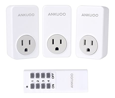 Ankuoo REC 1800W 15 Amp Wireless Remote Control Electrical Outlet