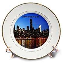 3dRose cp_50228_1 Nyc Night Skyline-Porcelain Plate, 8-Inch
