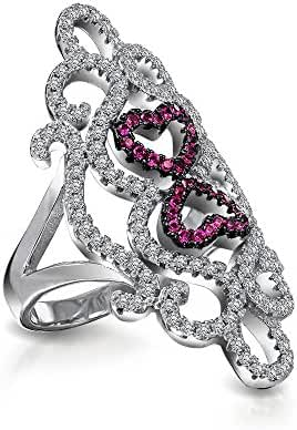 Bling Jewelry Simulated Ruby CZ Swirl Heart Knuckle Statement Ring Silver