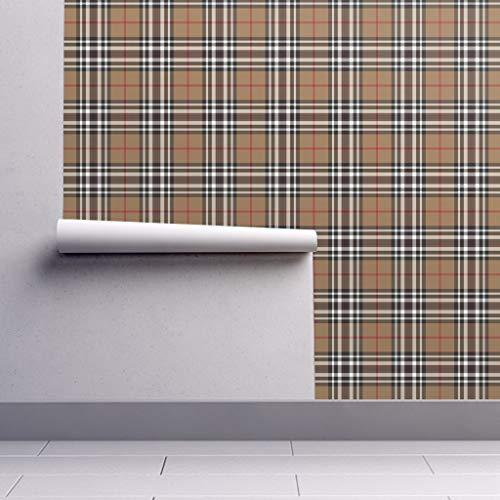 (Southdown Wallpaper Roll - Tartan Plaid Scottish Tan Brown Sfaut15 by Weavingmajor - 1 Roll 24in x 27ft)
